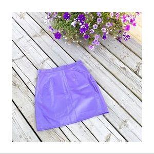 Vintage Lavender Purple Leather Mini Skirt NWT